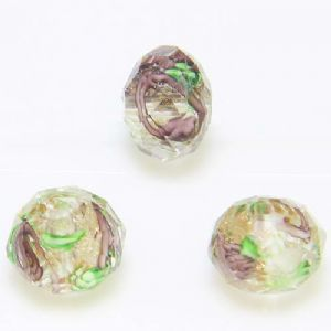 Beads, Auralescent Crystal, Crystal, Dark purple , Green , Faceted Discs, 10mm x 10mm x 8mm, 1 Bead, [LLZ060]